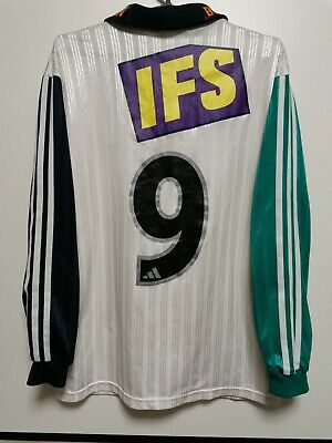 SIZE M STABAEK 1990s PLAYER ISSUE HOME FOOTBALL LONG SLEEVE SHIRT JERSEY #9 image
