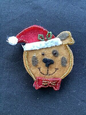 Vintage Felt Christmas Holiday Dog With Hat Brooch Pin Jewelry