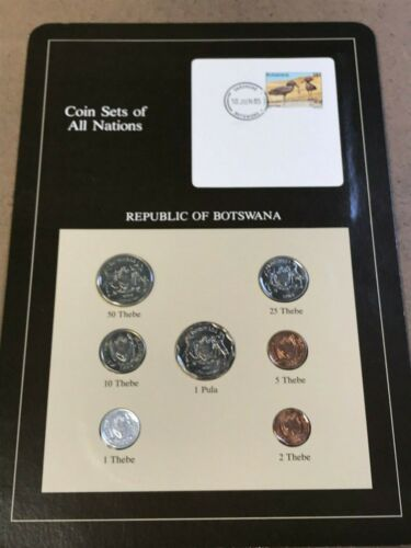 Franklin Mint Coin Sets of All Nations - Botswana 7 Coins & Stamp
