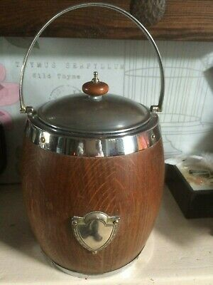 Vintage Wooden Barrel White Metal Ice Bucket with Ceramic Inner and Lid