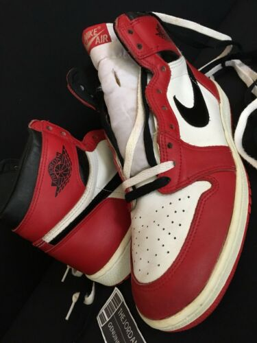 1985 Nike Air Jordan 1 Original White Black Red Chicago sz. 11.5