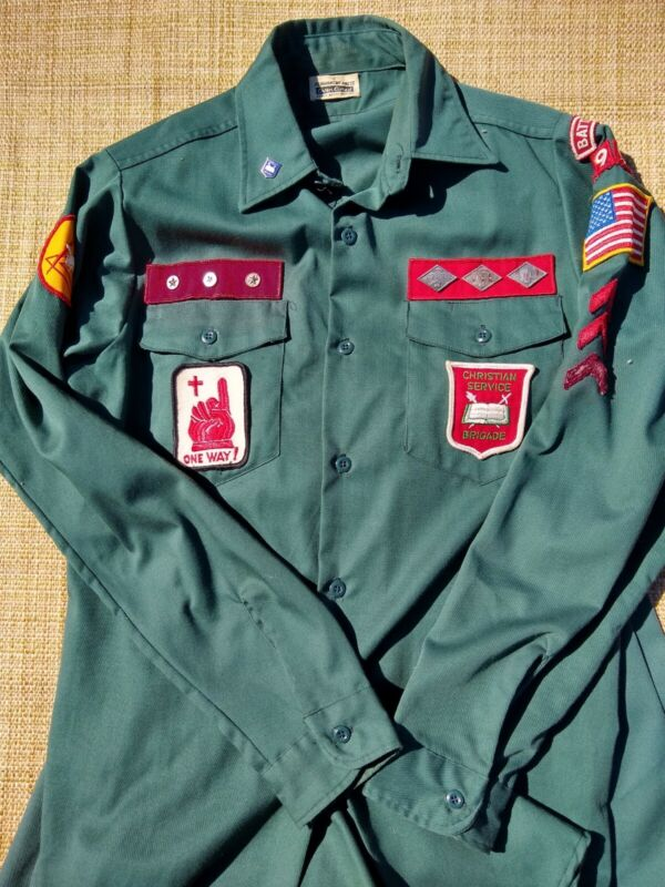 Vintage Boys Christian Service Brigade Uniform with Pins Medals Patches