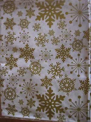 Wachstuch Tischdecke Weihnachten Schneeflocken weiß gold 140 x 100 cm abwaschbar