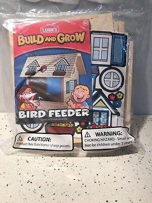 Lowes Build and Grow Bird Feeder Wood Kit With Patch - NEW