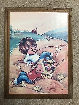 Vintage Big Eyed Boy And Girl Print on Board 1960's Kitsch Wall Hanging Retro