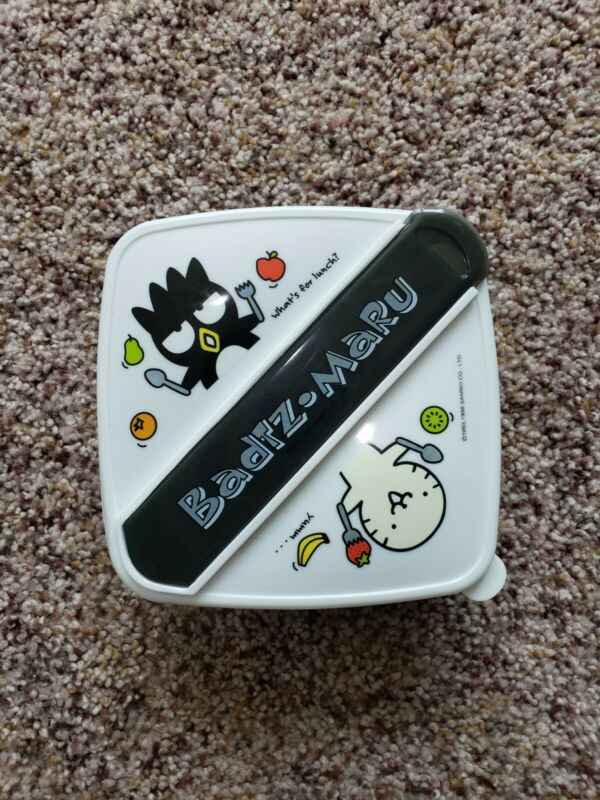 Rare Sanrio Badtz-Maru Food Container With Lid, Fork And Spoon