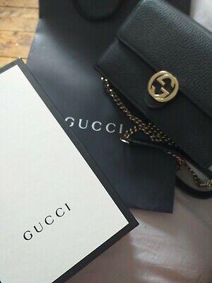 Gucci Interlocking GG Wallet On Chain Bag/Clutch Black - 100% Genuine