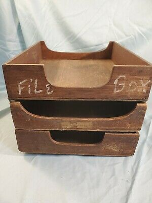 Antique Vintage Lot 3 Stackable Desk Wood Filing Boxes Letter Paper Trays