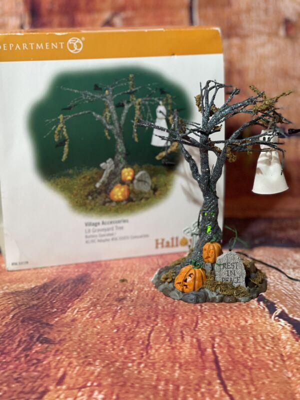 Dept 56 Snow Village Halloween - Lit Graveyard Tree #53129 - W/Original Box