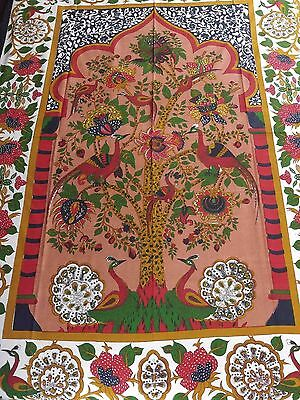 Unique Handmade 100% Cotton Tree of Life Peacock Tapestry Tablecloth Red 85x60