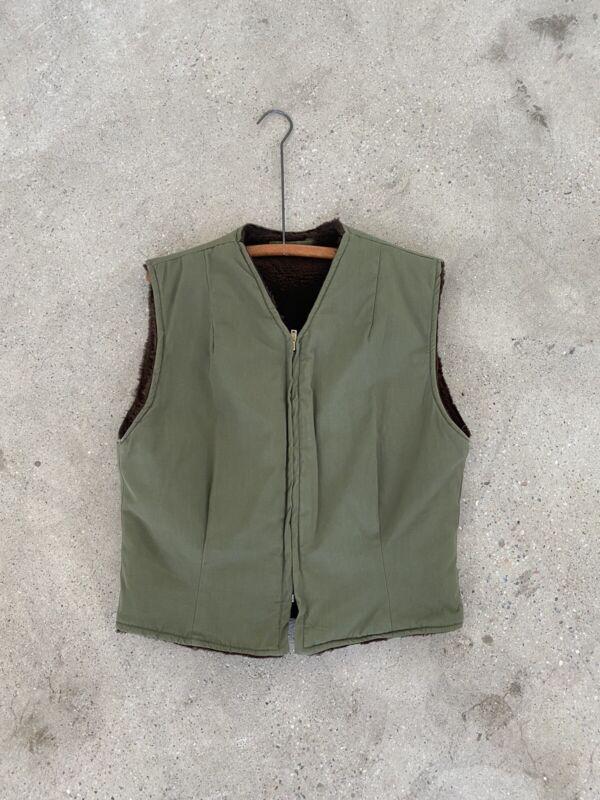 VTG WW2 40's US Military Alpaca Wool Lined Vest OD Canvas Talon Zipper