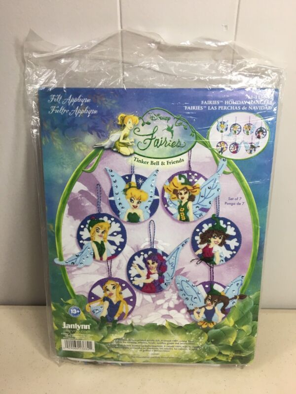 Janlynn Disney Fairies Tinker Bell Felt Applique Christmas Ornaments Kit NEW