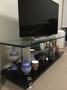 Glass TV unit and Ikea TV bench Greenwich Lane Cove Area Preview