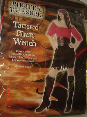 Halloween Tattered PIRATE WENCH One Size Fits Most Women Black RED Costume](Halloween Tattered Clothes)