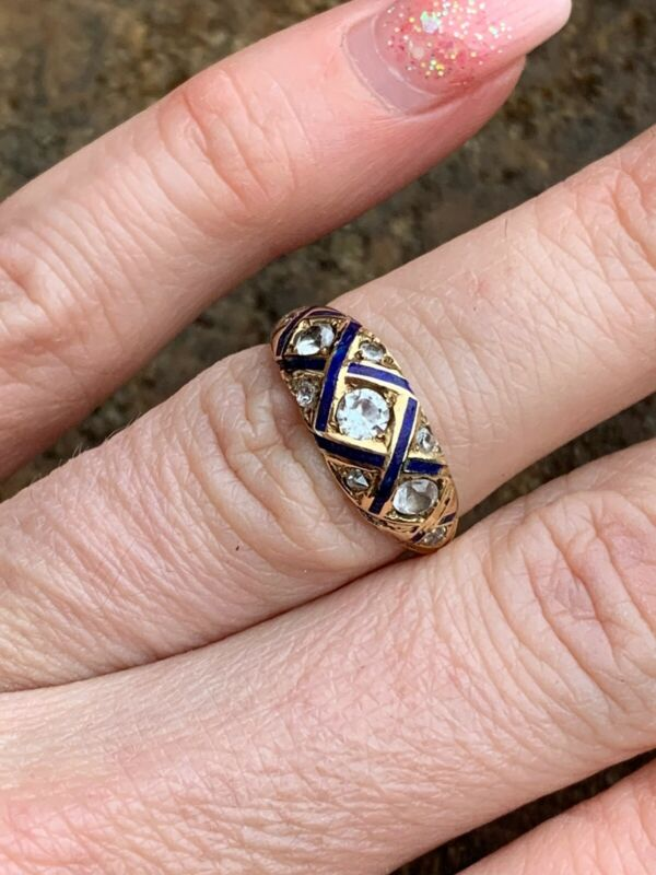 Victorian 18ct Yellow Gold Paste And Blue Enamel Criss Cross Band Ring.