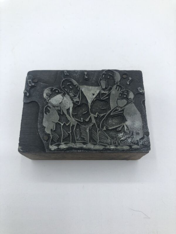 Antique Singing Cartoon Gents Printing Printers Block Stamp Wood Metal Crafts