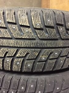 225 60R16 Studded winter tires WITH aluminium rims.
