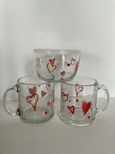 Libbey Floating Hearts 2 Glass Coffee Mugs & 1 Bowl w/Lid Valentines Day USA