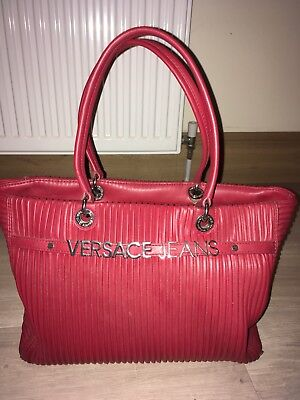 VERSACE JEANS, Red Plisse Pleat Leather Tote Bag