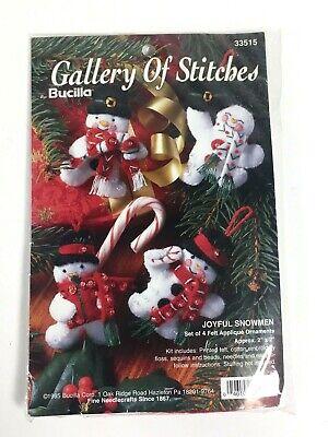 Bucilla 1995 Joyful Snowmen Set of 4 Felt Applique Jeweled Ornaments Kit  33515