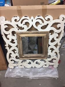 """Large rustic antique look framed mirror brand new in box 30x31"""""""