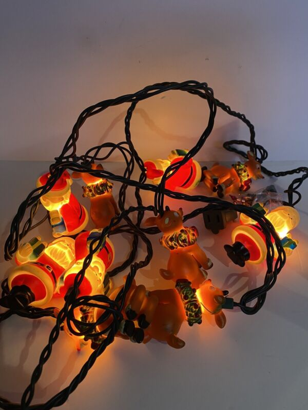 Vintage String Lights Set 10 Plastic Santa Rudolph Red Nose Reindeer Work Indoor