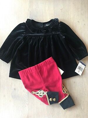 Polo Ralph Lauren Baby Girl 2 Piece Fancy Outfit Red/Black, Size 3 Months NWT!