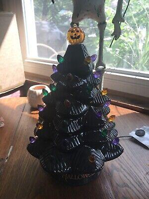 """New Mr Halloween Ceramic Tree Haunted Black 13"""" Pumpkin LED Lighted Orange ."""
