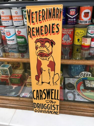 """""""VETERINARY REMEDIES"""" EMBOSSED METAL ADVERTISING SIGN (29""""x 7.5"""") NEAR MINT/NOS"""