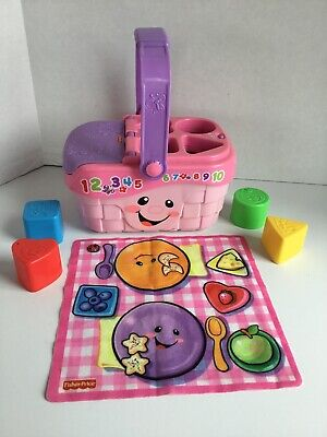 Fisher Price Laugh And Learn Sweet Sounds Picnic Basket Tablecloth Blocks NICE