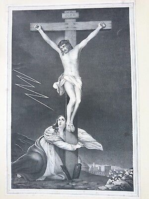Antique Steel Engraving Jesus on the cross with Mary 30x44cm
