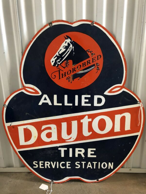 RARE Dayton Thorobred Tire Service Porcelain ADVERTISING Double Sided Sign!