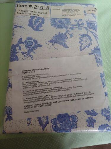 Blue White Floral Titanium Padded Ironing Blanket 100cm X 65cm