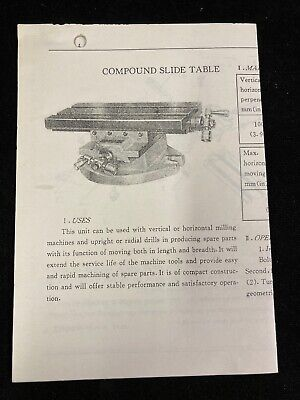 5 12 X 12 Compound Slide Table For Mill Specifications Operation And Parts