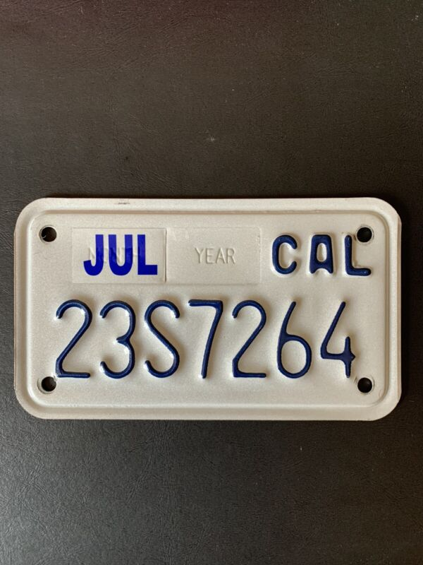 California Motorcycle License Plate Used