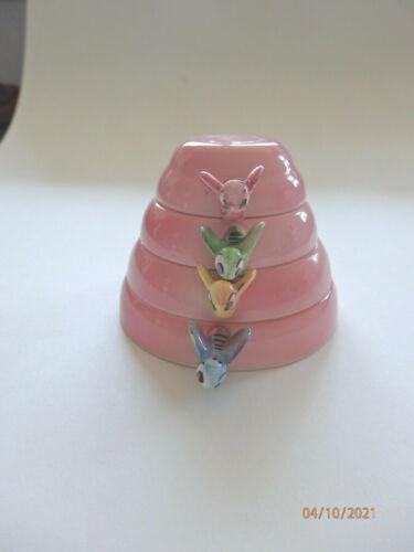 Vintage Pink Bumble Bee Beehive Measuring Cups, Menschik-Goldman, 1950s MCM