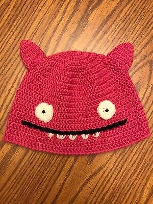 Ugly Doll Uglyhat Pink Crocheted Beanie Cap Bat Wings Childs Small Free Ship