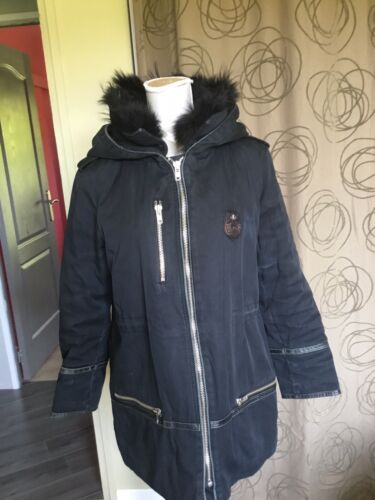 Magnifique manteau the kooples t xl noir chaud fourrure capuche cuir