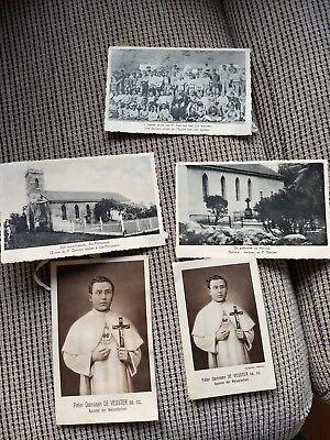 4 oude prentkaarten van pater damiaan + 1 gebeds kaartje