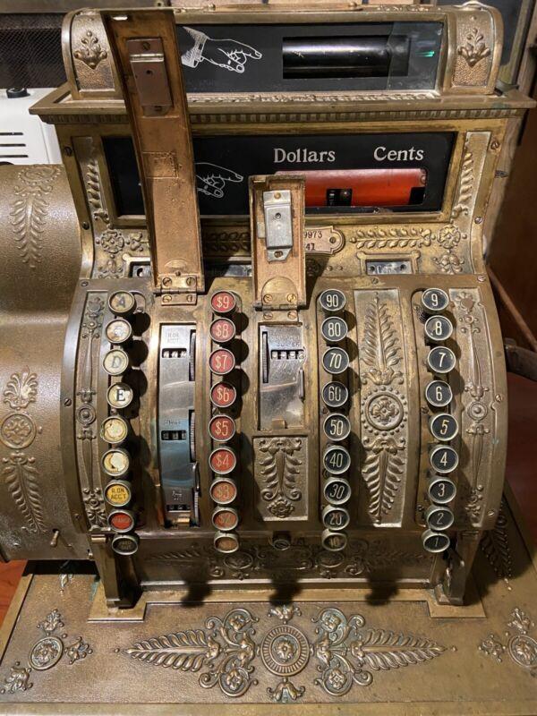 Antique 1908 Brass National Cash Register NCR