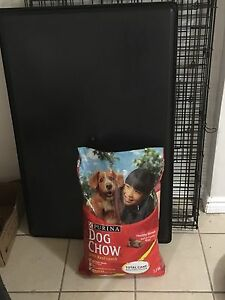 Large Dog crate and dog food