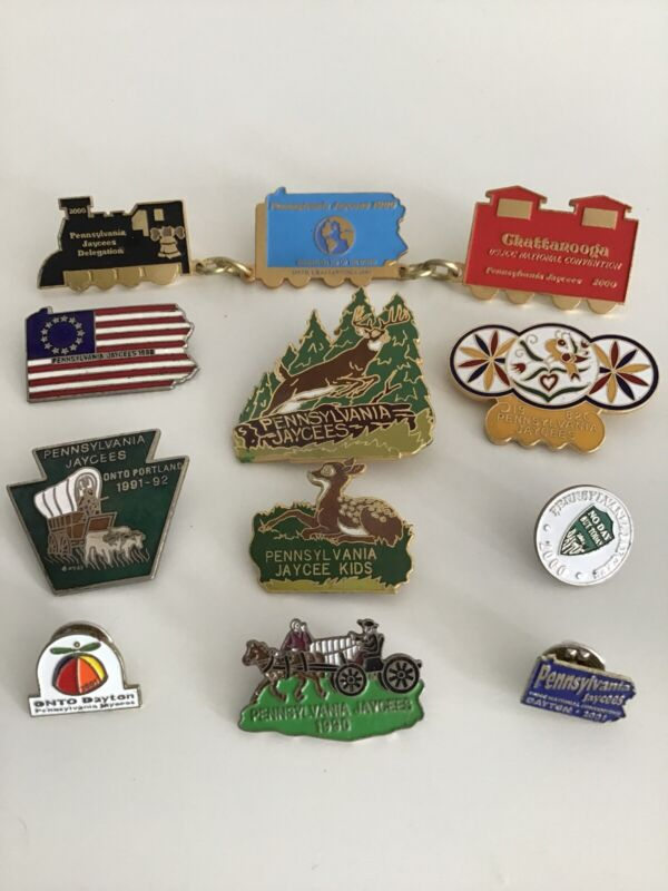 Lot Of 10 Vintage Pennsylvania Jaycees Lapel Pins 80