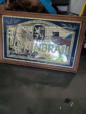 "Lowenbrau Beer Mirror Framed Rare Vintage Advertising 33""×21"" Bar Sign Large"