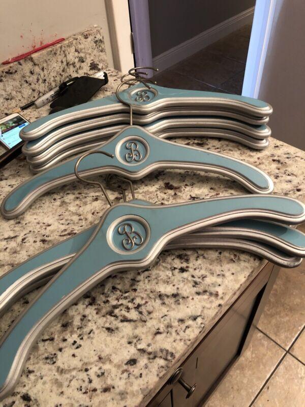 2 Beautiful Wood Hangers Letter B Blue/Silver