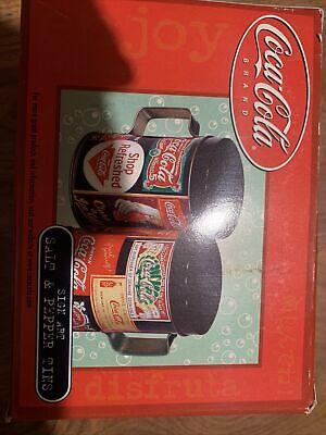 Vintage 2001 Coca Cola Sign Images Graphic Metal Salt & Pepper Shakers Tins