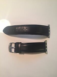 Black leather 38mm Apple Watch strap