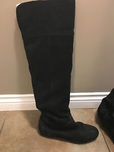 Black over the knee real suede boots