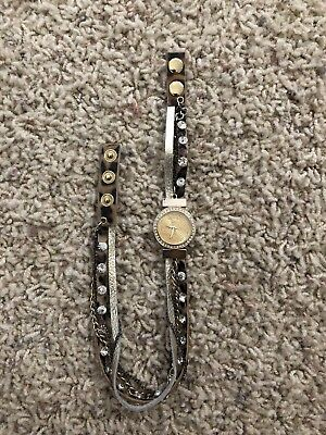BKE Leopard Cuff Double Strap Wrap Around Sparkle Watch Black Tan Crystal Gold
