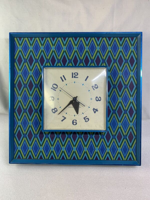 Rare Vintage Mid Century Psychedelic General Electric Model 2548 Blue Wall Clock