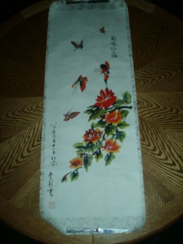 """CHINESE HANGING SCROLL ART PAINTING ON PAPER Insects, Flowers 15.5"""" X 43"""""""